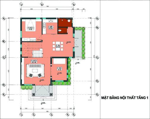 Phối cảnh biệt thự 2 tầng 100m2 mái thái hiện đại cho người mệnh hỏa.