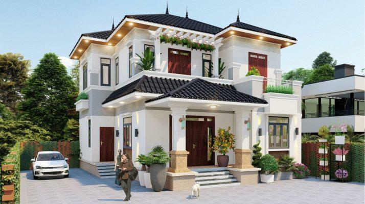 Mẫu thiết kế nhà 2 tầng mái nhật đẹp nhà anh giao tại Nam Định.