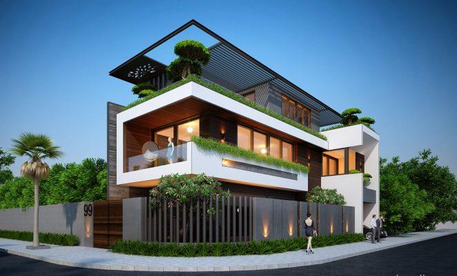 Mẫu thiết kế nhà biệt thự 3 tầng 2 mặt tiền 10X20 hiện đại tại nam định.